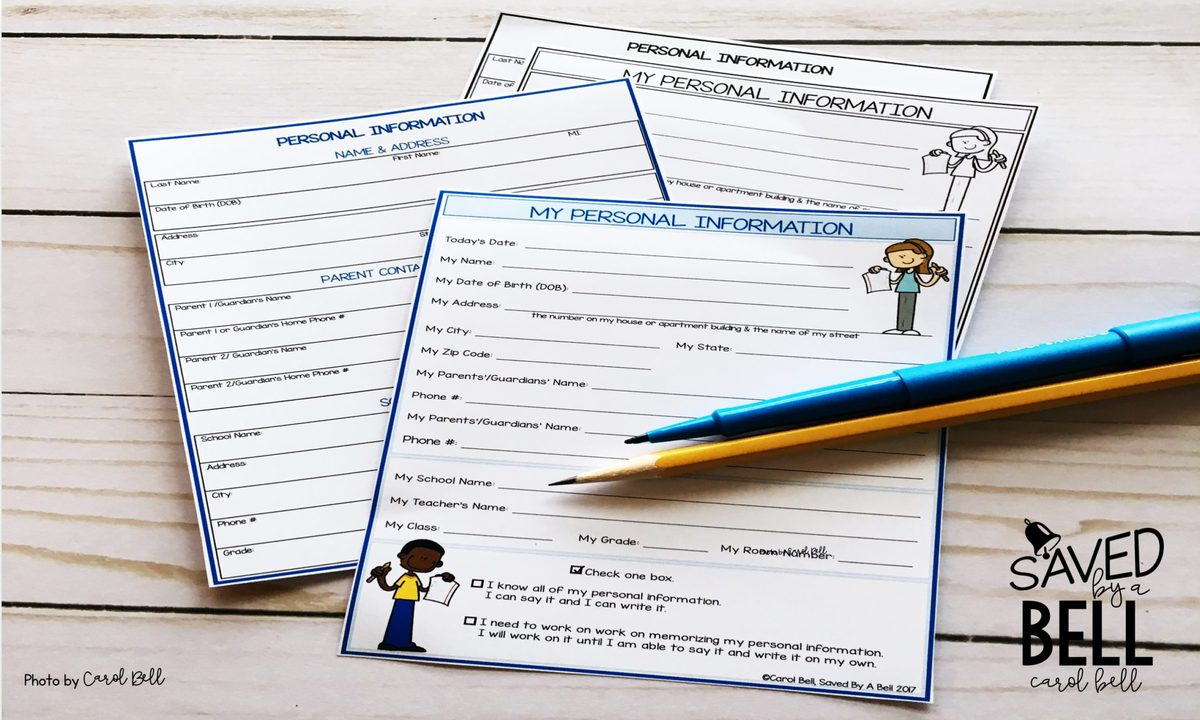 Editable Personal Information Forms